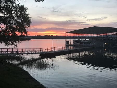 Sunset at the Cane Creek Marina Boat Dock RV Campgrounds Stewart TN